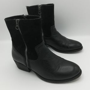 Hand Crafted Brand Double Zip Leather Ankle Boots